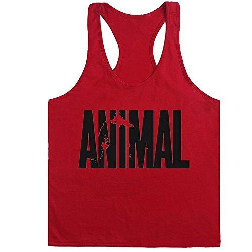 New Fi MEN BODYBUILDING TANK TOP GYM STRINGER WORKOUT VEST SINGLET Men Fitness shirt (Red, L)