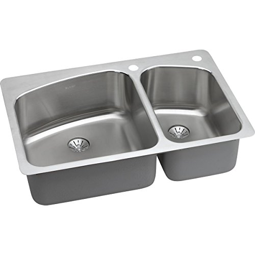 Elkay LKHSR2509RPD1 Lustertone Classic 60/40 Double Bowl Dual Mount Stainless Steel Sink with Perfect Drain