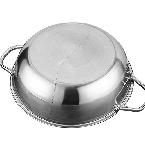 Hot Pot, Giveme5 Stainless Steel Twin Hot Pot Cookware Shabu Shabu Dual Sided Induction Cooker Gas Furnace Include Pot Lid and Pot Spoon (30cm) by Giveme5 (Image #5)'