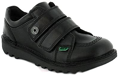 ad0c66b3f3 Kickers Boys/Childrens Black Hard Wearing School Shoes Rubber Sole With  Twin Velcro Strap (