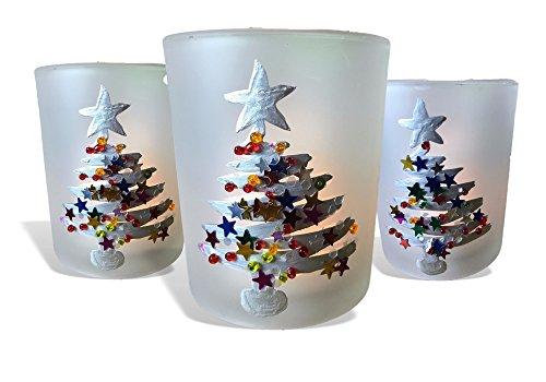 Christmas Tree Votive Holder - Christmas Candle Holder Set - Set of 3 Frosted Glass Votive Holder Hand Painted with Glittery Xmas Trees - 3 White LED Votive Candles Included