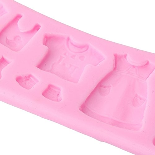 Demarkt DIY Backform Babykleidung Babyschuhe Silikonform Backf/örmchen Runde Schokolade Fondant Kekse Kuchen Dekorieren Backform