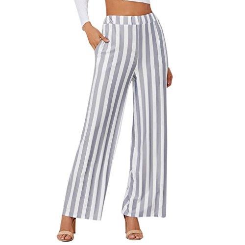 (Women Wide Leg Pants Loose Long Trousers Stretch Waist Stripe Office Working Pants Hemlock (S, Grey))
