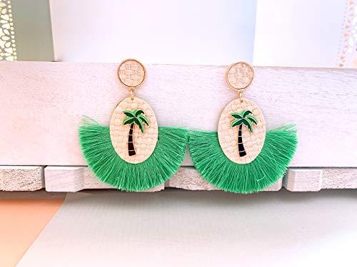 Wood Palm Earrings (Fan Tassel earrings, Palm Tree earrings, Straw Fan tassel earrings, Beach Earrings, Wood earrings, Statement earrings, Summer Earrings)
