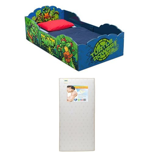 Delta Children Wood Toddler Bed, Nickelodeon Teenage Mutant Ninja Turtles  with Twinkle Stars Crib & Toddler Mattress