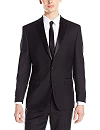 Calvin Klein Mens Modern Fit 100% Wool Tuxedo Suit Separate (Blazer and Pant)