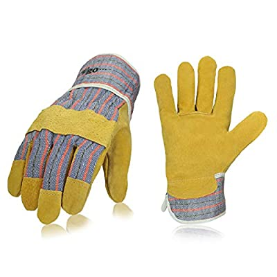 Vgo... Pig Split Leather Work Gloves with Safety Cuff, Golden Color (3 Pairs, Size 9/L)