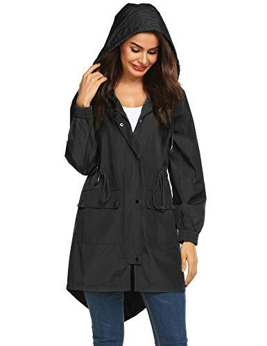 LOMON Women's Lightweight Waterproof Raincoat with Hood Long Sleeve Outdoor Hiking Rain Jacket (Type B Black -