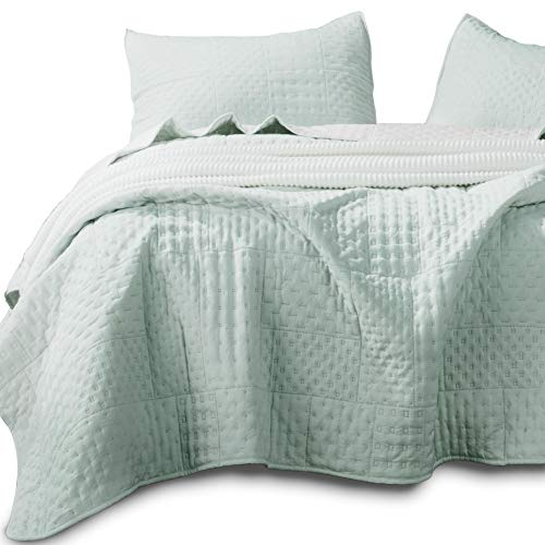 Kasentex Quilted Coverlet Mini Set-Best Lightweight Blanket-Super Soft-Reversible, 2 King Shams, Milky Green/Sheer Pink