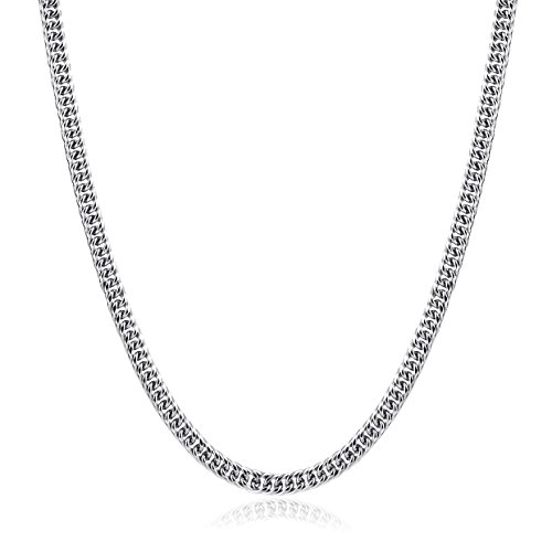 HZMAN Mens Heavy Thick Stainless Steel Silver Tone 7.5MM Wide Curb Link Chain Necklace (18.0)
