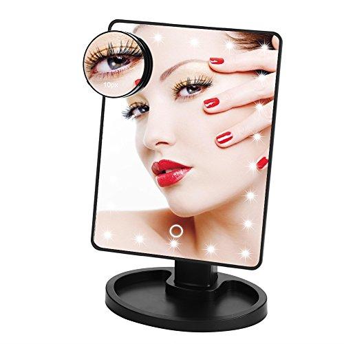 Haofy Luces de Espejo de Maquillaje, 22 LED Espejo de Sobremesa de Mesa con Pantalla Táctil, 10X Espejo de Aumento 360 °...