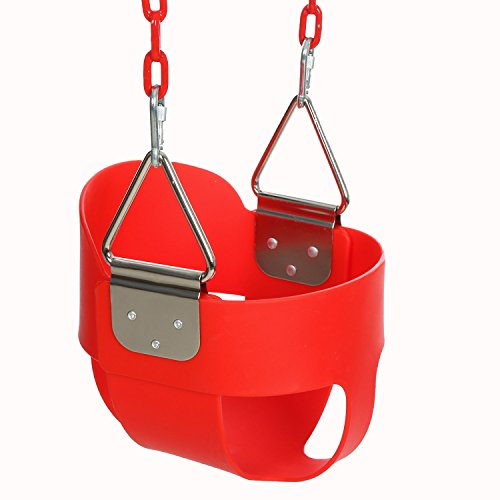 Funmily High Back Full Bucket Toddler Swing Seat with 60 inch Plastic Coated Swing Chains & 2 Snap Hooks Fully Assembled - Swing Set (Red)
