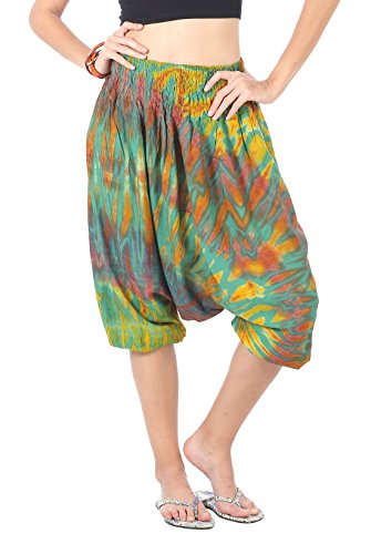 CandyHusky Unisex colorful Tie Dye Capri Summer Beach Hippie Harem Yoga Pants (Green)