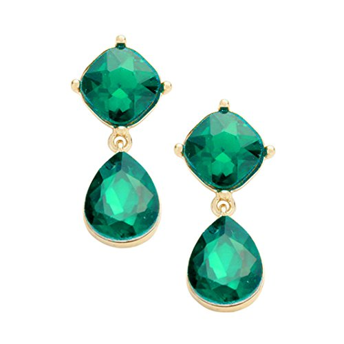 Rosemarie Collections Women's Glass Crystal Teardrop Dangle Earrings - Macy's Square Emerald