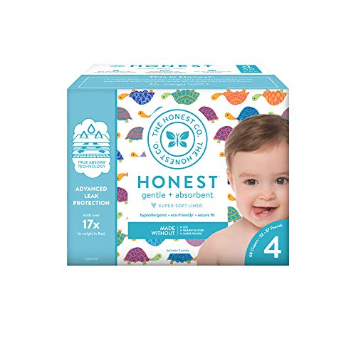 The Honest Company Club Box Happy Together Diapers with Trueabsorb Technology, Size 4, 60Count