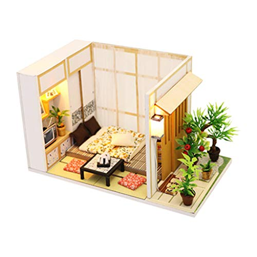 Karooch DIY Charming Dollhouse Kit Miniature 3D Japanese Style Tatami Room House Kits with Dust Cover Best Birthday Gifts for Baby Girls