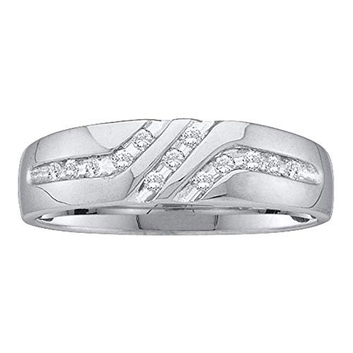 Jewel Tie - Size 9 - Solid 10k White Gold Men's Round Channel-set Diamond Triple Row Wedding Band Ring 1/8 Cttw. (Wedding Bands For Men Diamond)