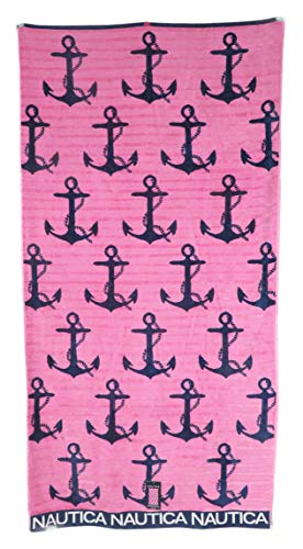 Nautica 36 x 68 Reversible Navy Blue Anchors on Pink Background Beach Towel ()