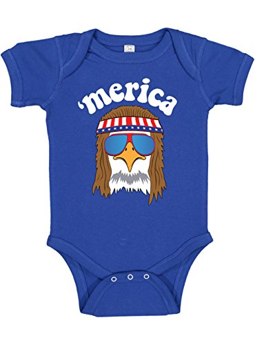 Panoware Funny Baby Patriotic 4th of July Bodysuit | Merica Eagle America (3-6 M, Royal) -