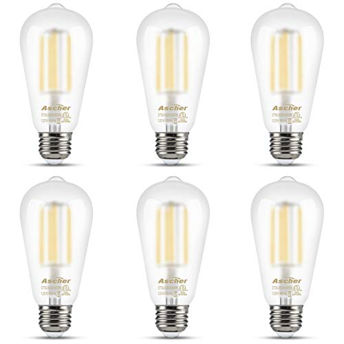 Ascher Edison LED Bulbs, 6W, Equivalent 60W, Glare-Free Frosted Glass, Daylight White 4000K, ST58 Antique LED Filament Bulbs, E26 Medium Base, Non-Dimmable, Pack of 6 - Bulb Frosted Led