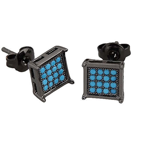 Bala Men Earring Black Square Stud Big Turquoise Diamond Hypoallergenic Earrings for Sensitive Ear 7mm (Diamond Stud Turquoise)