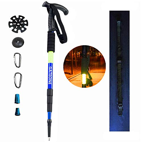 Anti Shock Light - GOTOONE Walking Stick Hiking Trekking Pole Telescoping Collapsible Ultra Strong Anti Shock Lightweight for Women Men with Reflective Tape (Blue)