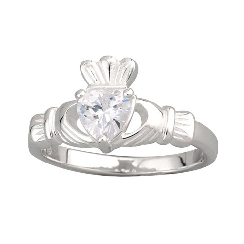 Claddagh Ring Heavy Sterling Silver & CZ Sz 7