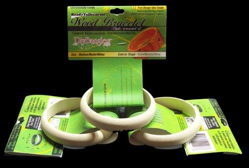 5/8 Inch Light Cream (3 Pack, Wood Bangle Bracelet, Dome Exterior, 5/8