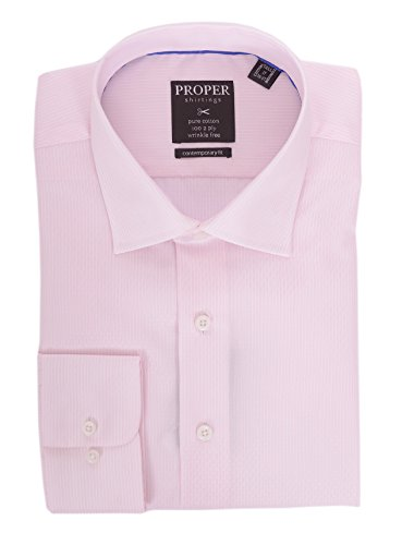 (Slim Fit Pink Striped Spread Collar Wrinkle Free 100 2 Ply Cotton Dress Shirt)