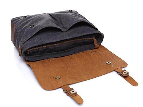 Bolso Retro De La Lona De Los Hombres Con La Primera Capa De Bolso De Hombro De Cuero Bolso Portable De La Carpeta Del Mensajero F