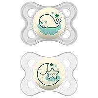 Chupetes MAM que brillan en la oscuridad, chupetes para bebés de 0 a 6 meses, el mejor chupete para bebés amamantados, colección de diseño 'Night ', unisex, 2-Count
