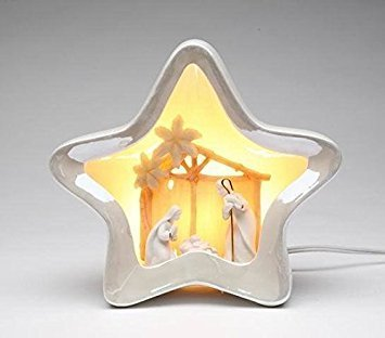 (7 3/8 Inch White Star Shaped Night Light with Nativity Scene Center)