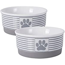 "DII Bone Dry Paw Patch & Stripes Ceramic Pet Bowl for Food & Water with Non-Skid Silicone Rim for Dogs and Cats (Small - 4.25"" Dia x 2""H) Gray - Set of 2"