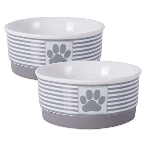 DII Bone Dry Paw Patch & Stripes Ceramic Pet Bowl for Food & Water with Non-Skid Silicone Rim for Dogs and Cats (Small - 4.25