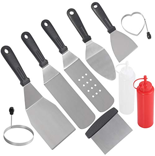 - POLIGO Professional Spatula Set in Packing Box - 10pcs Commercial Grade Stainless Steel Griddle Accessories Set for Flat Top Cooking Teppanyaki Grill - Metal Tool Set Gifts for Father's Day Men