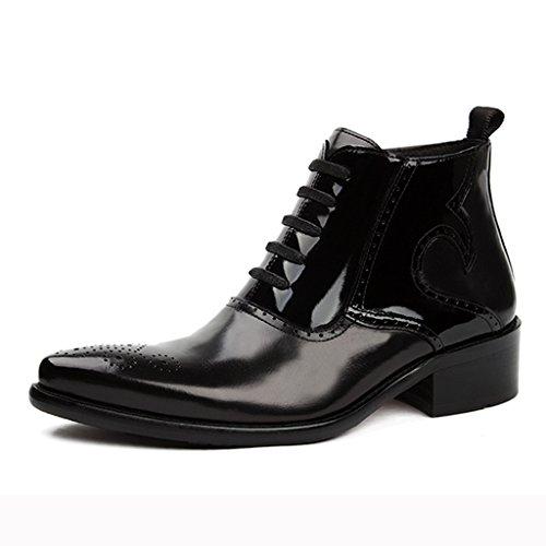 Herren Lederschuhe Herren Lederschuhe High-Top-kurze Stiefel Spitze Martin Stiefel British Style Army Boots Herrenschuhe ( Farbe : Schwarz , größe : EU42/UK7.5 ) Schwarz