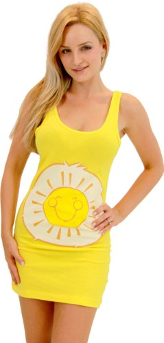 Care Bears Sunshine Bear Yellow Costume Tunic Tank Dress (Sunshine Bear) (Yellow) (Juniors Large) ()