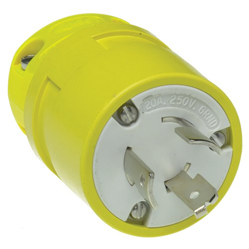 Woodhead 2608G Super-Safeway Plug, Grounding Tab, Industrial Duty, Locking Blade, 3 Poles, 3 Wires, Rubber, Yellow, 20A Current, 125/250V Voltage by Woodhead