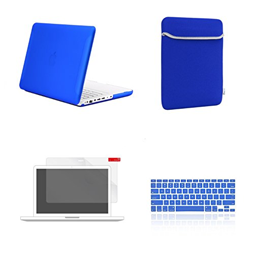 TOP CASE 4 in 1 Bundle - Rubberized Hard Case Cover + Soft Sleeve Bag + Silicone Keyboard Cover + Screen Protector Compatible with Apple MacBook White 13 (A1342/Latest) (Case NOT Compatible with Appl