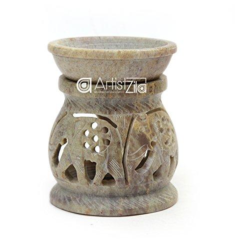 (ArtistZila Decorative Traditional Aroma Lamp Oil Burner and Diffuser Tea Light Holder with Elephant Vine Work for Home Decor/Gift)