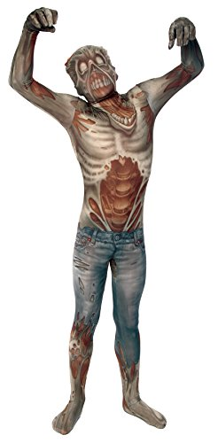 UHC Boy's Zombie Morphsuit Horror Theme Fancy Dress Child Halloween Costume, Child M -