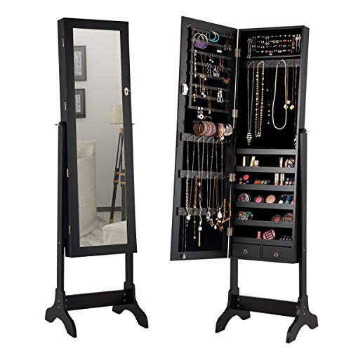 Giantex Lockable Standing Jewelry Armoire with Full Length Mirror, Large Storage Capacity Jewelry Cabinet Organizer with 2 Drawers, 4 Angel Adjustable, Extra Wide Mirror, for Women Girls (Black)