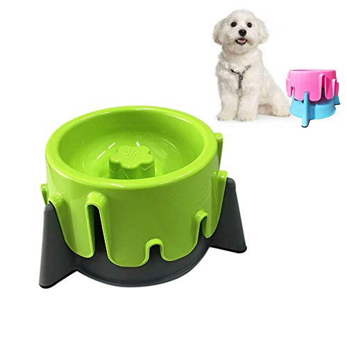 WishLotus Multifunctional 2 in 1 Pet Food Feeder Lovely Cake Shape Durable Adjustable Pet Bowl 5 Kinds of Height Pet Double Bowls Fun Feeder and Dog Cat Bowls Slow Food Utensils (Green and Grey)