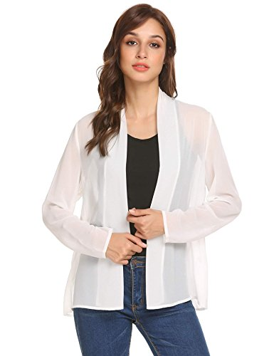 (Concep Women Beach Long Sleeve Open Front Sheer Cardigan Lightweight Shrug Cover Up (White L))