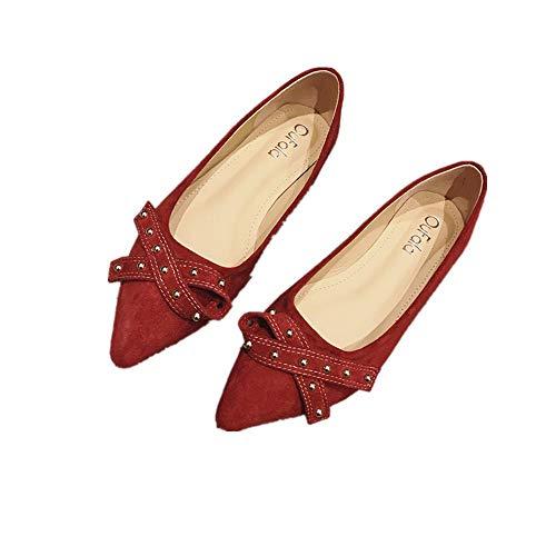 Primavera Boda Señaló Planos Niña De Rojo Zapatos Salvaje Mocasines Mujer Arco Solo Francés nx7HwTt