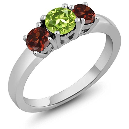 1.34 Ct Round Green Peridot Red Garnet 925 Sterling Silver 3-Stone Ring -