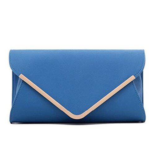 PU Small Bag Pure Leather Envelope Chain Shoulder Blue Handbag Ladies Classic Fashion Clutch Bag Color 0wF7xpZ