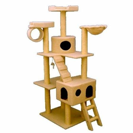 Majestic Pet Products 73 inch Cream Bungalow Cat Furniture Condo House Scratcher Multi Level Pet Activity Tree ()