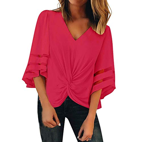 Lovor Women's V Neck Mesh Panel Blouse 3/4 Bell Sleeve Solid Loose Top Twist Knot Front Irregular Hem Shirts for Women(Hot Pink,XL)