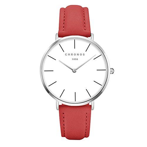 Fashion Classic Unisex Women Men Quartz Watch PU Leather Strap Anolog Ladies Gents Wrist Watch, Red-Silver
